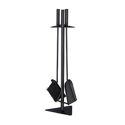 Relaxdays 4-Piece Fireplace Companion Tool Set Shovel, Brush, Poker & Holder, Modern Design, Black, 60 x 18.5 x 16.5 cm