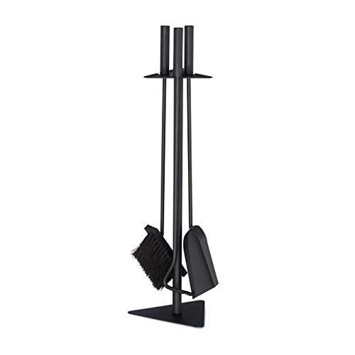 Relaxdays Kaminbesteck, 4-teilige Kamingarnitur mit Schaufel, Besen, Schürhaken & Halter, Ofenbesteck modern, schwarz, 60 x 18,5 x 16,5 cm