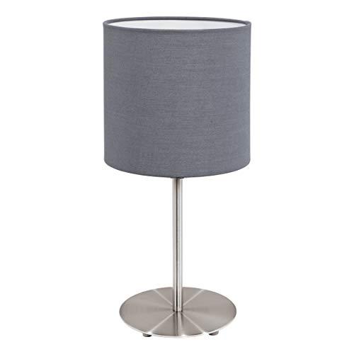 EGLO Tischlampe Pasteri, 1 flammige Textil Tischleuchte, Nachttischlampe aus Stahl und Stoff, Farbe: Nickel matt, grau, Fassung: E27, inkl. Schalter, H: 40 cm