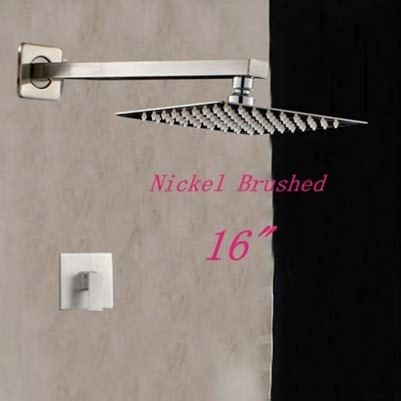 Wandhalterung Nickel gebürstet, quadratischer Duschkopf Wasserhahn Einhand-Ventilmischer, 16