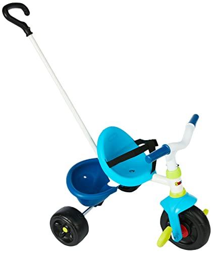 Smoby 740323 Be Fun Dreirad blau Kinderdreirad mit Schubstange, Sitz mit Sicherheitsgurt, Metallrahmen, Pedal-Freilauf, für Kinder ab 15 Monaten