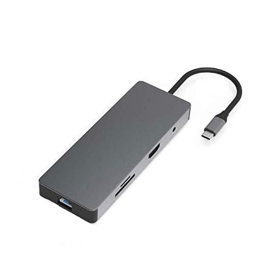 Concentrador USB Hub USB Multifuncional Tipo C 9 En 1 Lector De Tarjetas SD/TF Puerto De Audio RJ45 De 3,5 Mm con Adaptador De Interfaz PD Tipo C para Unidades Flash USB De PC Portátil