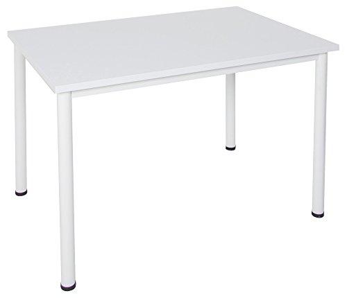 Dila GmbH Schreibtisch/Besprechungstisch in verschiedenen Größen und Farben weißes Metallgestell Konferenztisch Arbeitstisch (B: 140 cm x T: 80 cm, Weiß)
