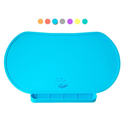 Food Catching Baby Placemat with Non-Slip, Premium Quality, Food Grade Silicone for Max Hygiene, Unique Raised Edge, Spill Proof Accident Tray, Lightweight and Portable, 6 Colors (Bashful Blue)