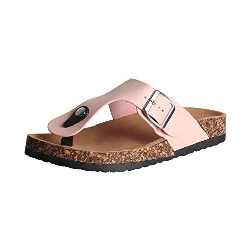 Elara Damen Sandalen Zehentrenner Sandalette Chunkyrayan BJB-42 Pink-38