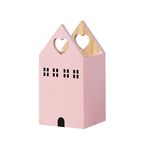 Portalápices de madera, portalápices de escritorio Castle Chalet, portalápices de almacenamiento, organizador de escritorio (rosa)