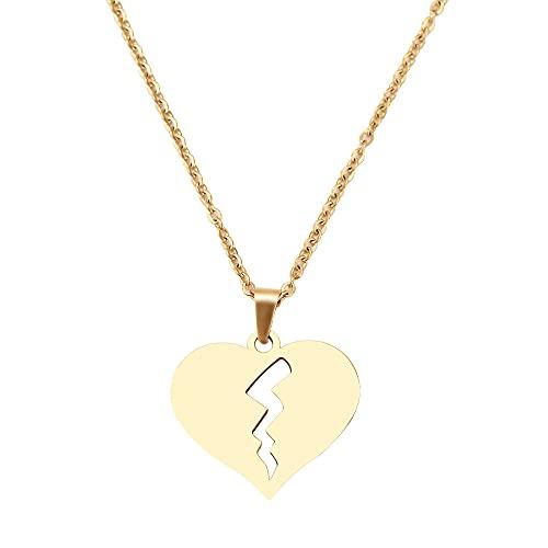 YQMR Colgante Collar para Mujer,Collar Colgante De Moda para Mujer Hueco Grabado Dorado Relámpago Corazón Colgante Brillo Joyería Encanto Regalo para Cumpleaños Amistad Familia