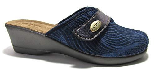 inblu DE04 Ciabatte Pantofole con Strappo Invernali Chiuse Blu (Numeric_40)