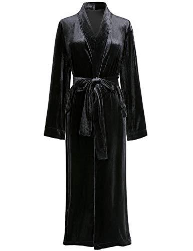 PRODESIGN Peignoir Long Femme Robe de Chambre Longue en Velours Doux Couleur Unie Nuisette en Velours Confortable (Noir, L)