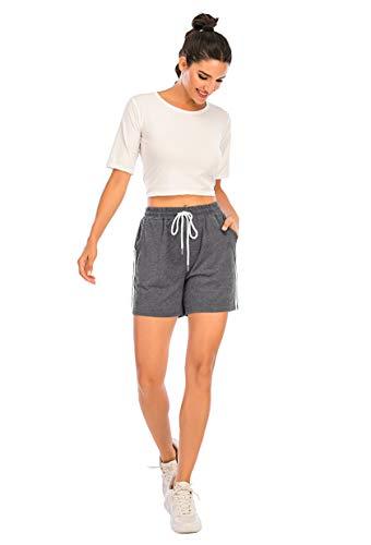 Enjoyoself Damen Kurze Sporthose Baumwolle Stretch Sommer Sweatshorts mit Gummibund Chic Hose zum Yoga,Laufen,Zumba,Tranning,Grau,XXL