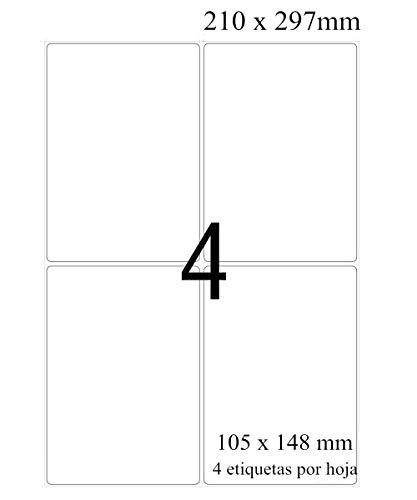 105 x 148 mm, 100 Hojas A4 Etiqueta Adhesiva, 400 Pequeñas Hojas en Total, Etiquetas Autoadhesiva Etiquetas Adhesivas Imprimibles, compatibles con impresoras de inyección de tinta y láser