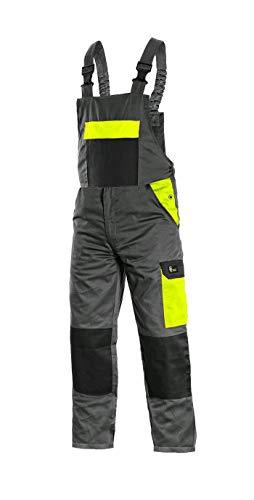 CANIS CXS Phoenix Cronos Arbeitslatzhose Professionelle Latzhose Herren Schutz für Monteur Gärtner Damen Hose für Mechaniker mit Klettverschlusstaschen Cargotaschen; grau mit gelb (56)