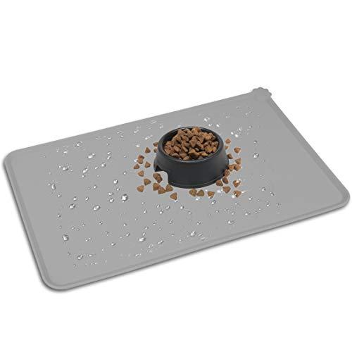 HOOSUN Pet Food Mat,Silicone Waterproof Pet Food Mat Dog Cat Pet Feeding Mat,Pet Bowl Tray Pet Food...