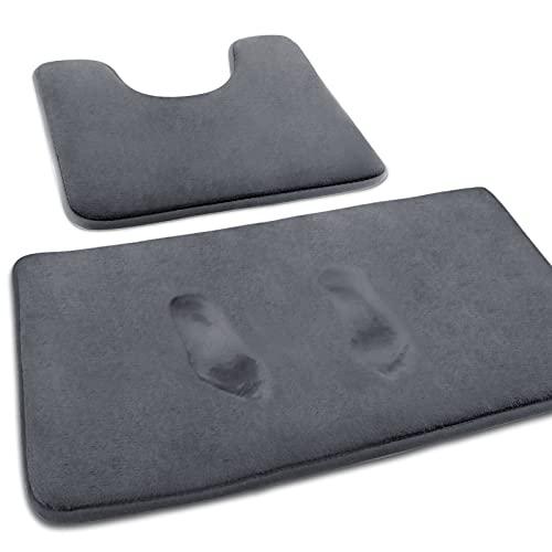 MEKO Memory Foam Badematte, 2 Set Anti Rutsch Badteppich Badvorleger und saugfähiger U-förmiger Konturteppich und Fußmatte für Badezimmer Dusch, maschinenwaschbar und super weich (Grau)