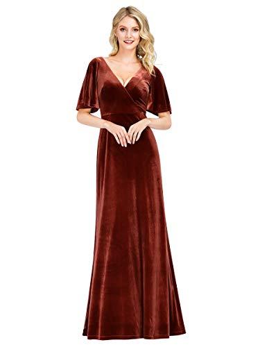 Women's A-Line V-Neck Wrap Velvet Dress Long Formal Evening Dress Maroon US14