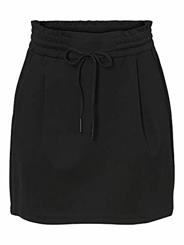 VERO MODA Damen Vmeva Mr Short Ruffle Skirt Noos Rock, Black, L EU