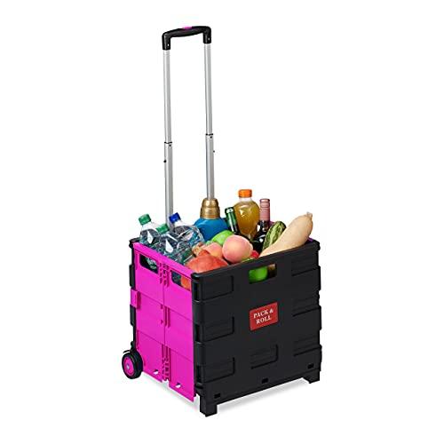 Relaxdays Einkaufstrolley klappbar, Teleskop-Griff, 2 Gummi Rollen, bis 35 kg, Shopping Trolley, Aluminium, ABS, pink