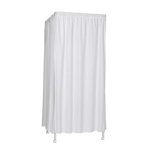 Don't Look at Me - Portable Changing Room Divider - White Frame with White Fabric and Casters