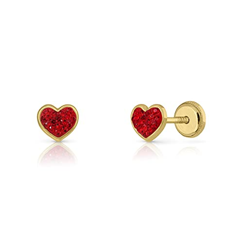 Pendientes Oro de Ley Certificado/Niña/Mujer. Diseño Corazón. Cierre de seguridad a rosca. Medida 5x5.5 mm. (4-8997)