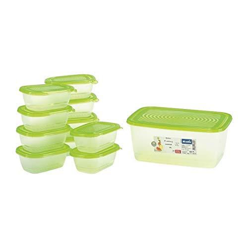 Rotho 10167 Un Conjunto de contenedores de Alimentos, Transparente/Verde, 11 Unidades
