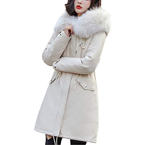 Read About Women's Hooded Parka Coat Winter Outwear Jacket with Faux Fur Trim Hood