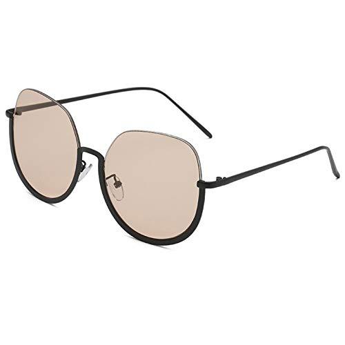ZZOW Gafas De Sol Redondas Semi Sin Montura para Mujer, Gafas De Sol Transparentes Amarillas Y Rosas para Hombre, Gafas De Sol para Hombre, Gafas De Ojos De Gato, Gafas Uv400