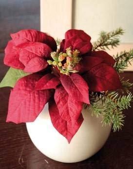 artplants.de Künstlicher Weihnachtsstern Wanda im Keramiktopf, rot, 14cm, Ø 20cm - Kunstblume - künstliche Blumen