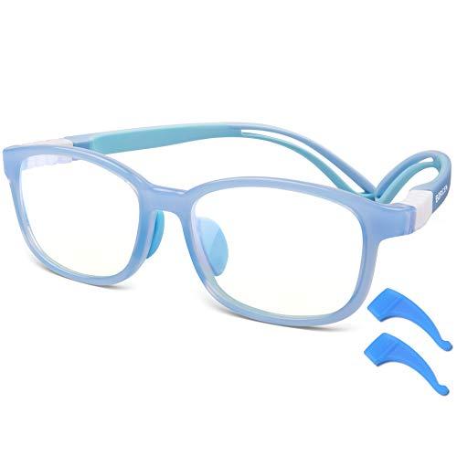 Bircen Blue Light Glasses for Kids Age 3-12, 2020 Elastic Silicone Temple Nose Pad Gaming Reading Kids Blue Light Blocking Glasses Boys&Girls