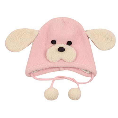 Detrade Plüsch Welpen Mütze Neugeborenes Baby Mädchen Ohren Warme Cartoon Tier Pelzmütze Beanie Cap (Pink)