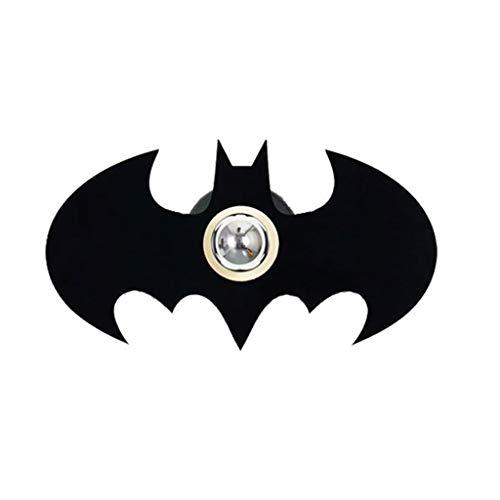 Aplique Murale E27 Applique Murale Creative Batman Ombre Plaquage Applique Murale en Métal Acrylique Applique Murale Lumière for Chambre Salon Applique (Color : Black)