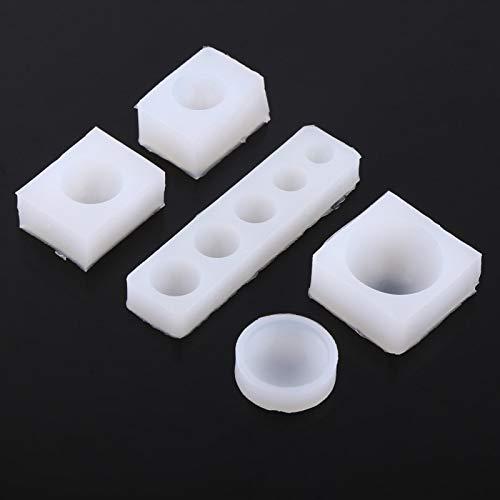 Kudoo Molde de Pastel de Fondant 3D de 5 unids/Set, Molde de Silicona de cabujón Redondo, fácil de Hacer para Manualidades de fabricación de Joyas de Resina epoxi DIY