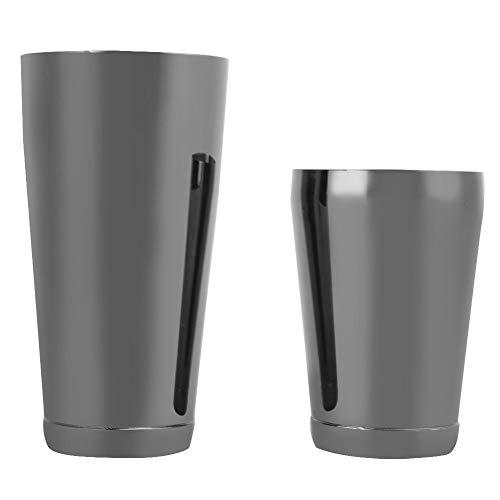 2 Stück Set Cocktail Shaker Edelstahl Boston Shaker Bar Bartending Cup Werkzeug Barware(Schwarz)