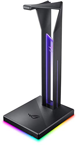 ASUS ROG Throne Qi Gaming Headset Stand - Wireless Charging | 2 USB Ports & Aux Input | Arc Design for Stable & Secure Storage | Built-In DAC & Amplifier for Immersive Audio | Aura Sync RGB Lighting