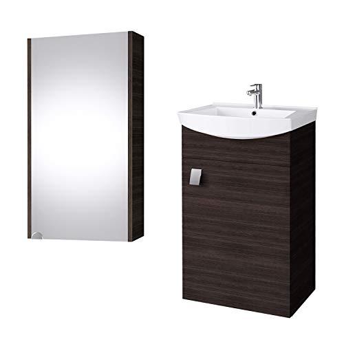 Planetmöbel Juego de muebles de baño con lavabo, lavabo y armario con...