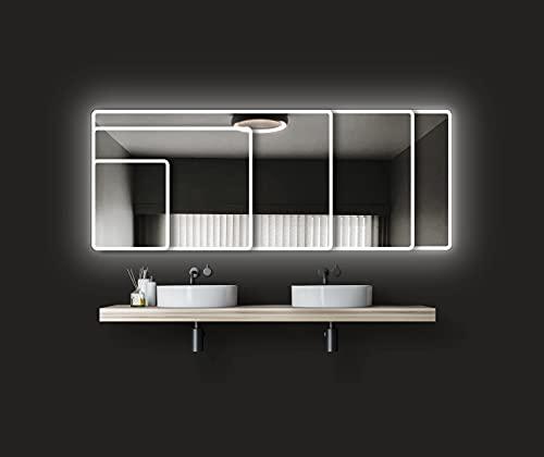 Espejo de baño con iluminación Talos Moon - Espejo de baño 40 x 45 cm - con luz Ambiental circundante - Color de la luz Blanco Neutro - Marco de Aluminio