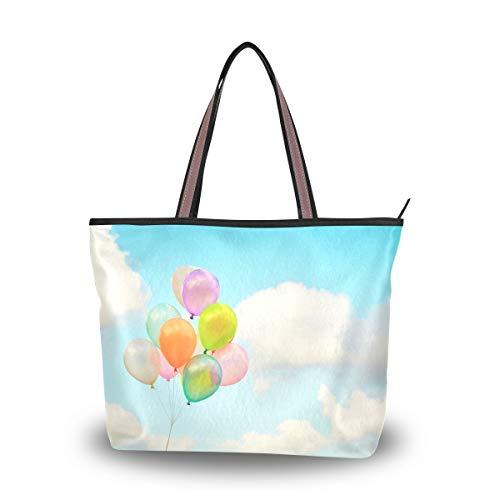 LENNEL Bolsas de hombro con cremallera Bolso de mano para mujer Bolsa de compras Cielo Juguete Globo Nubes Bolso Chica