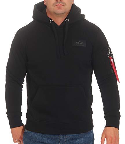 ALPHA INDUSTRIES Herren Back Print Hoody Sweatshirt, Negro, M