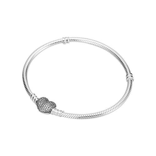 Pandora 590727CZ-17 - Pulsera con cierre de corazón (17 cm)