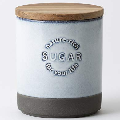 LOLO 保存容器 キャニスター SA01 黒土 陶器 日本製 チーク シュガー 白 420ml