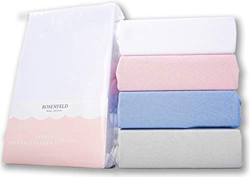 Rosenfeld Spannbettlaken Jersey - 100% extra Dicke und weiche Baumwolle, Spannbettlaken 140x200cm - Bettlaken für Steghöhe bis 30 cm, weiß