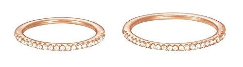 ESPRIT Damen-Ring JW50217 Rose Silber teilvergoldet Zirkonia weiß
