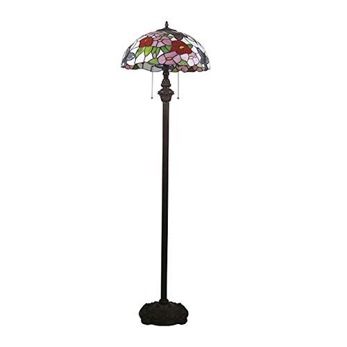 SCAYK Estilo Pie de pie Lámpara de pie 67'Flor de vidrieras Alta con Mariposa Tulipán Antiguo Antiguo Luz de la luz Lámparas para Dormitorios Lámpara de Noche