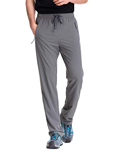TRAILSIDE SUPPLY CO. Mens Stretch Workout Lounge Pants with Zipper Pockets, Grey, L