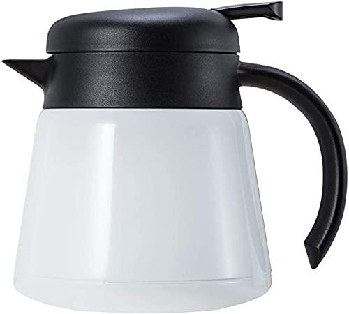 Tetera De Cafetera con Aislamiento De Vacío De Acero Inoxidable De 800 Ml De Acero Inoxidable - Uso Dual Caliente Y Frío (Blanco),Blanco