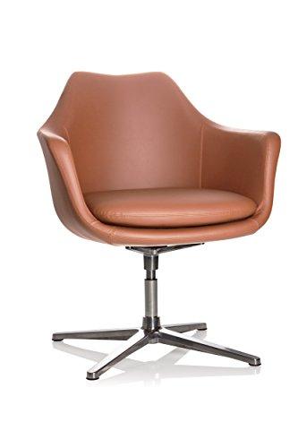 hjh OFFICE 600988 Lounge Sessel Artemia Kunstleder Braun Drehsessel im eleganten Design