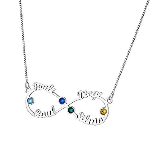 Shengyaju Collar con colgante de amor eterno con nombres y 4 piedras natales