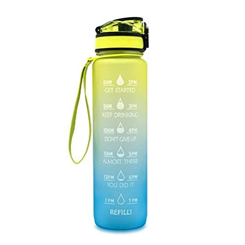 Roexboz Botella de agua motivacional de 1 L, de plástico, para deporte, con marcador de tiempo, antigoteo, de flujo rápido