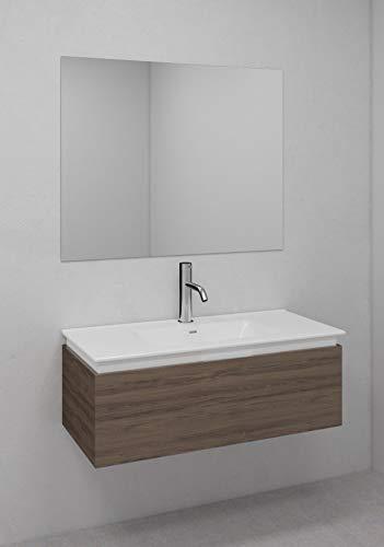 Bath Marketplace S.L. Conjunto Mueble Baño Compacto Suspendido 1 Cajón Acabado Combinado Nogal/Blanco (100cm)- Encimera De Porcelana