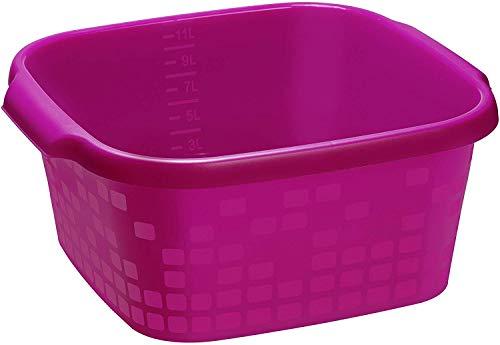 Rotho Geometric Becken / Spülwanne 12l eckig, Kunststoff (PP) BPA-frei, pink, 12l (37,8 x 36,7 x 15,8 cm)