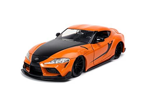 Jada Toys Fast & Furious 2020 Toyota Supra, Tuning-Modell im Maßstab 1:24, zu öffnende Türen, Motorhaube und Kofferraum, orange